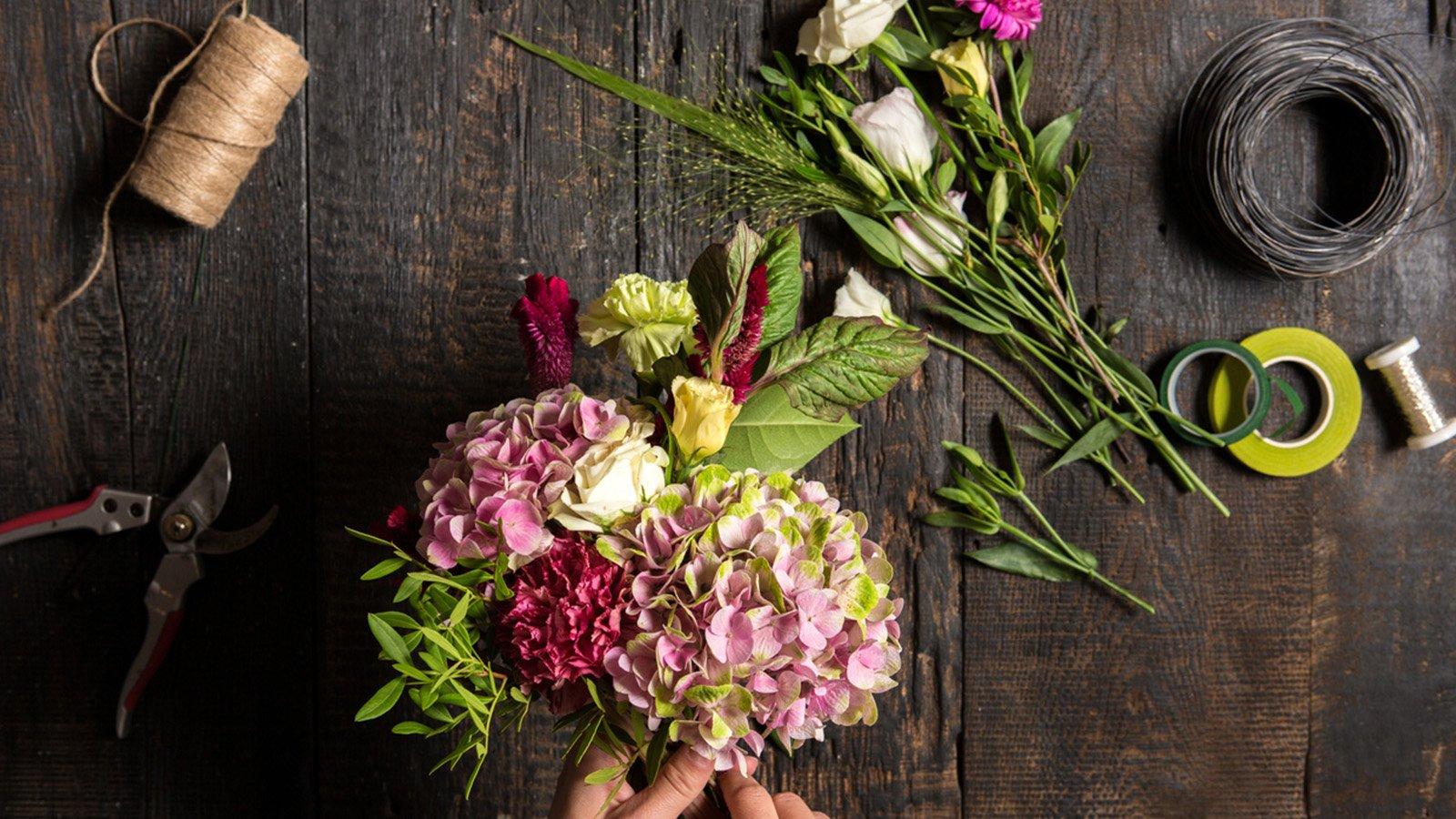 Florist supplies on a table at Moulié Fleurs