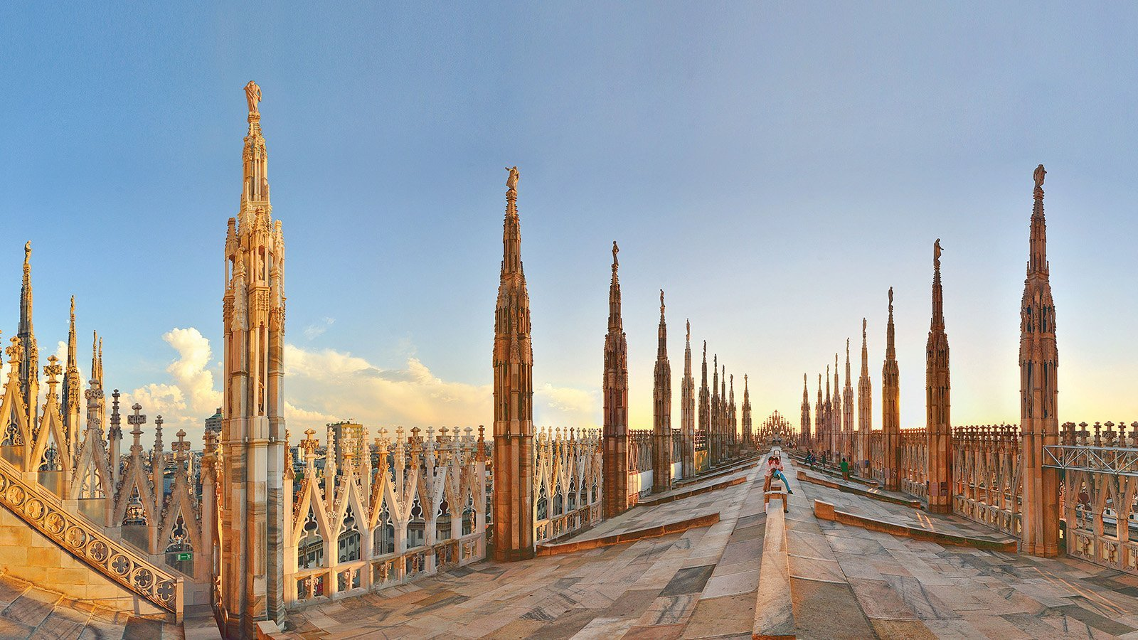 People on the roof of the Duomo Di Milano in Milan
