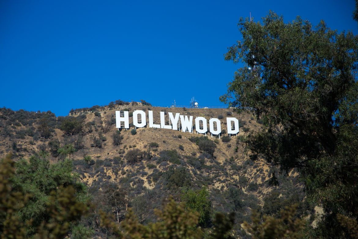 View of iconic Hollywood sign