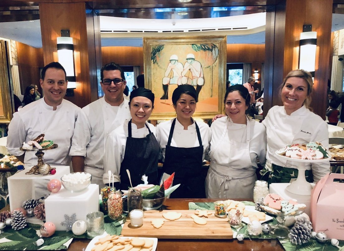 Pastry team at holiday cooking class