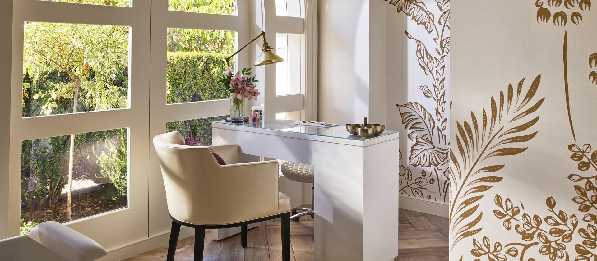Manicure desk in Nail Suite overlooking citrus garden