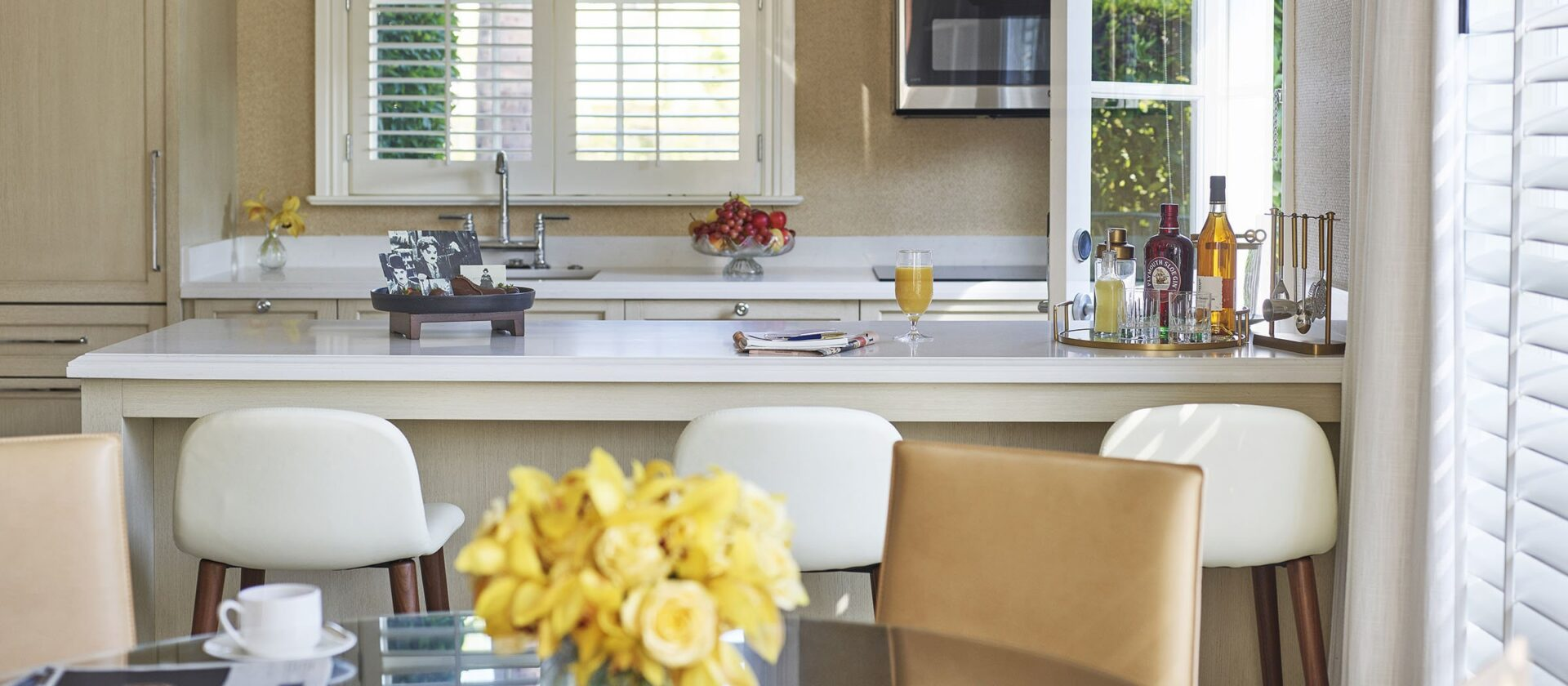 Open kitchen with island and dining room table