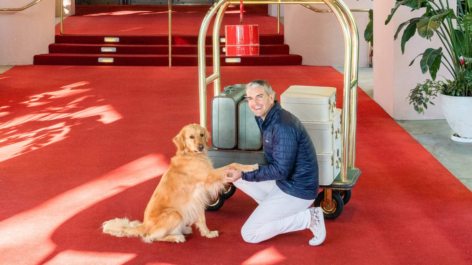 Gray Malin poses with pooch on red carpet