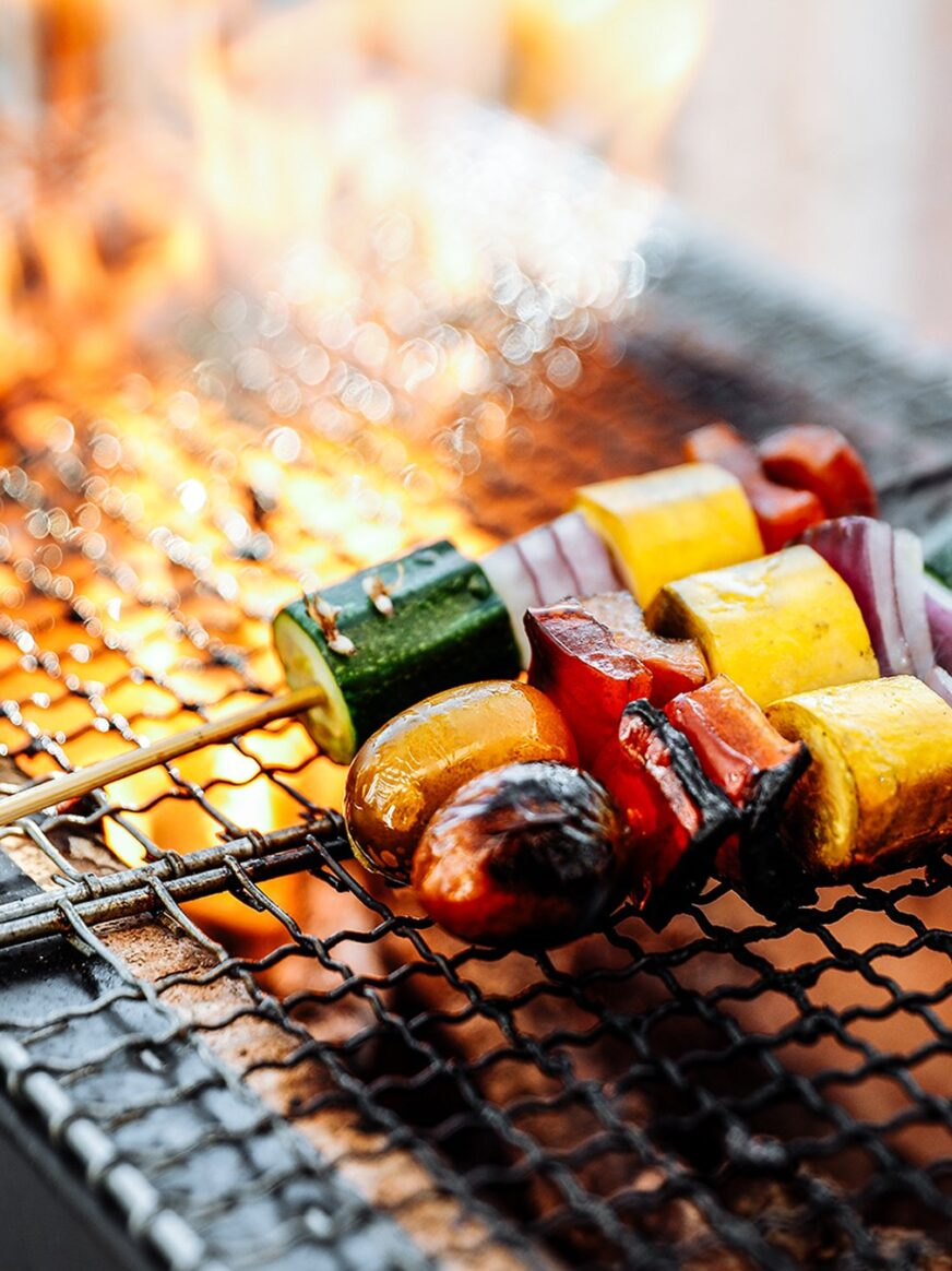 Food being grilled on a BBQ