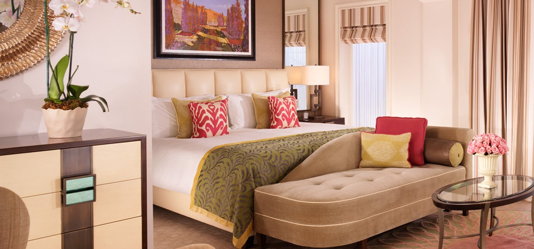 Deluxe Room at The Beverly Hills Hotel with a king size bed