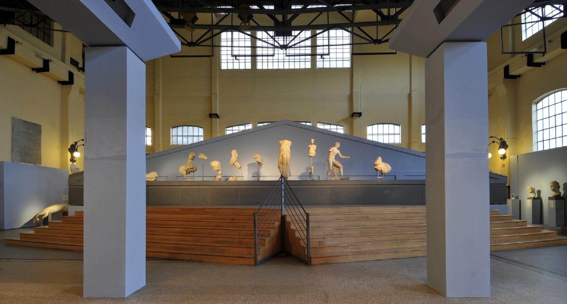 Statues inside Centrale Montemartini in Rome