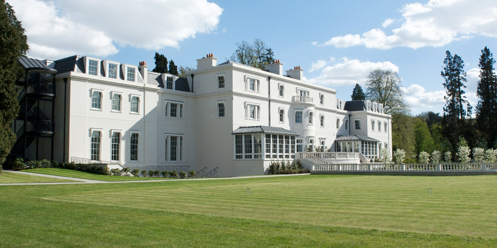 Coworth Park exterior from croquet lawn