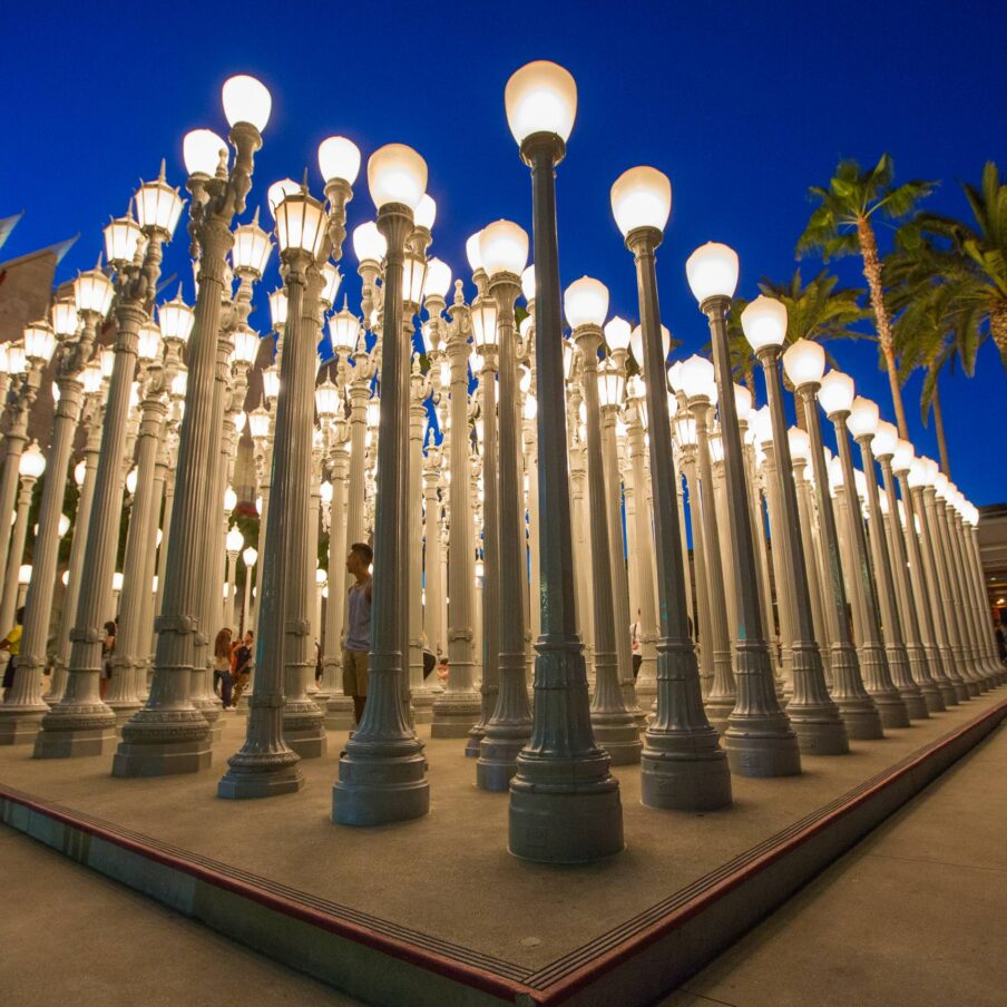 LACMA urban street light sculpture at night