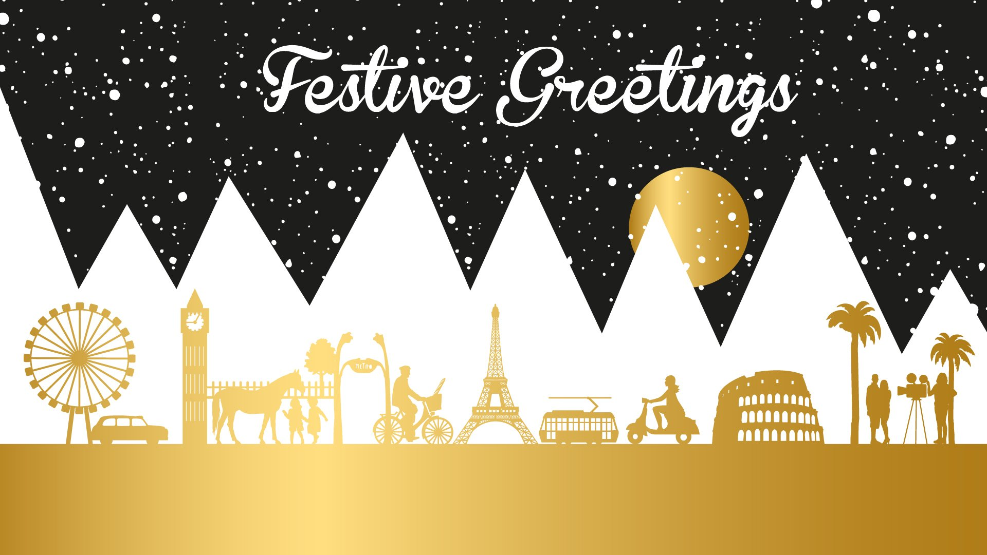 Black, white and gold festive greetings banner