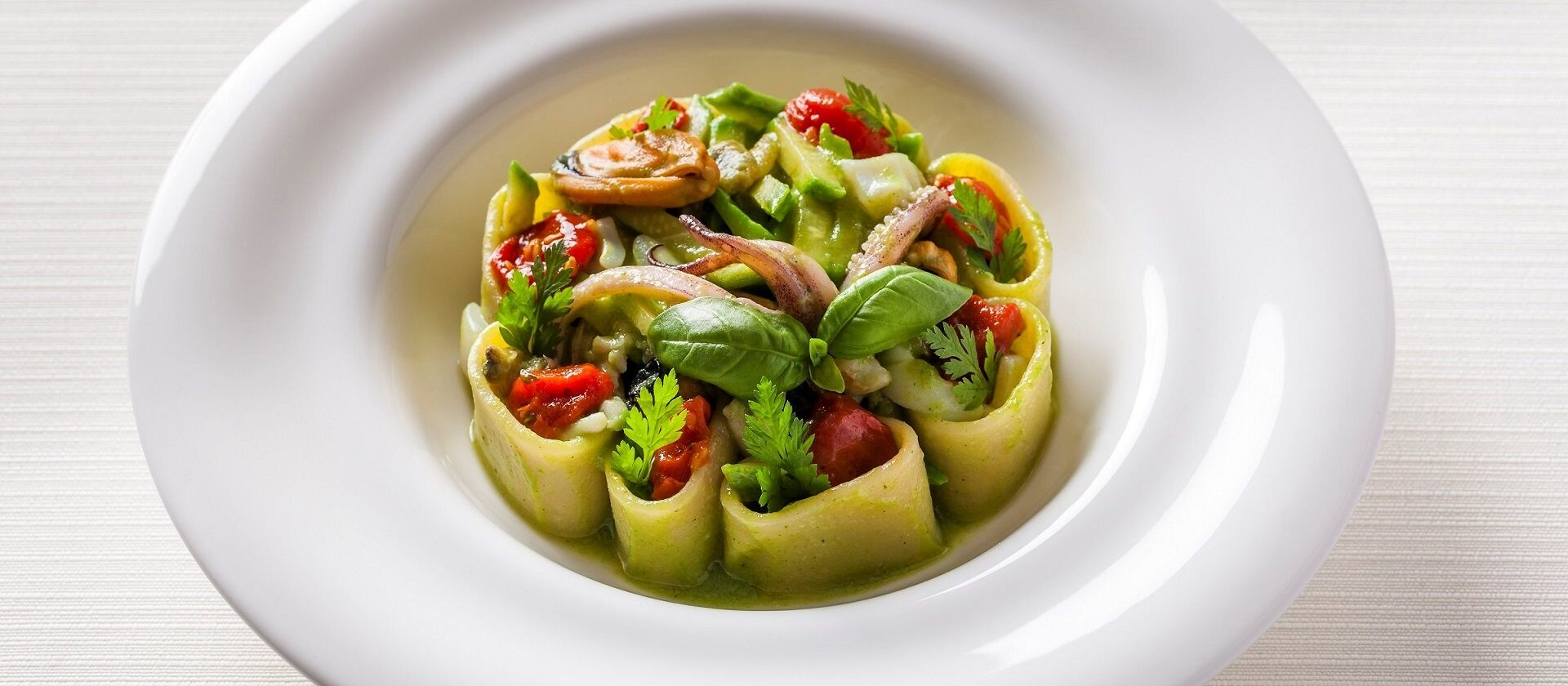Seafood and roman courgette pasta dish served at Hotel Eden