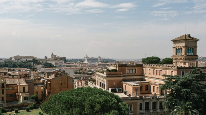 Rome skyline with famous landmarks in the background