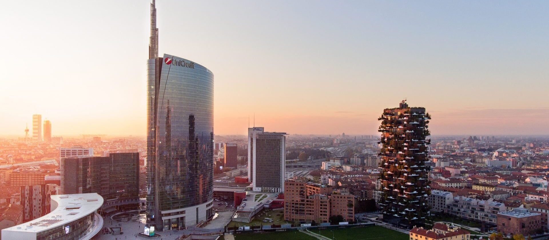 View of the Milan skyline with skyscrapers in the foreground