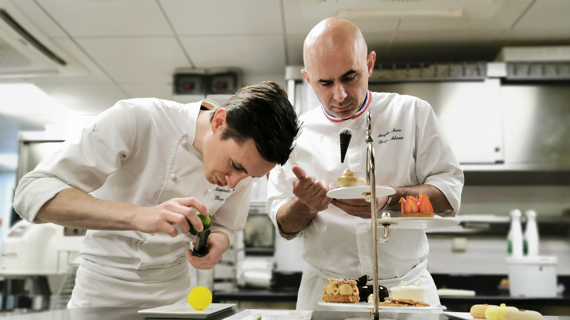 Executive pastry chef Angelo Musa creating an afternoon tea at Hôtel Plaza Athénée