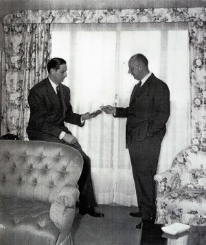 René Lambert and Christian Dior at the Hôtel Plaza Athénée – 1950