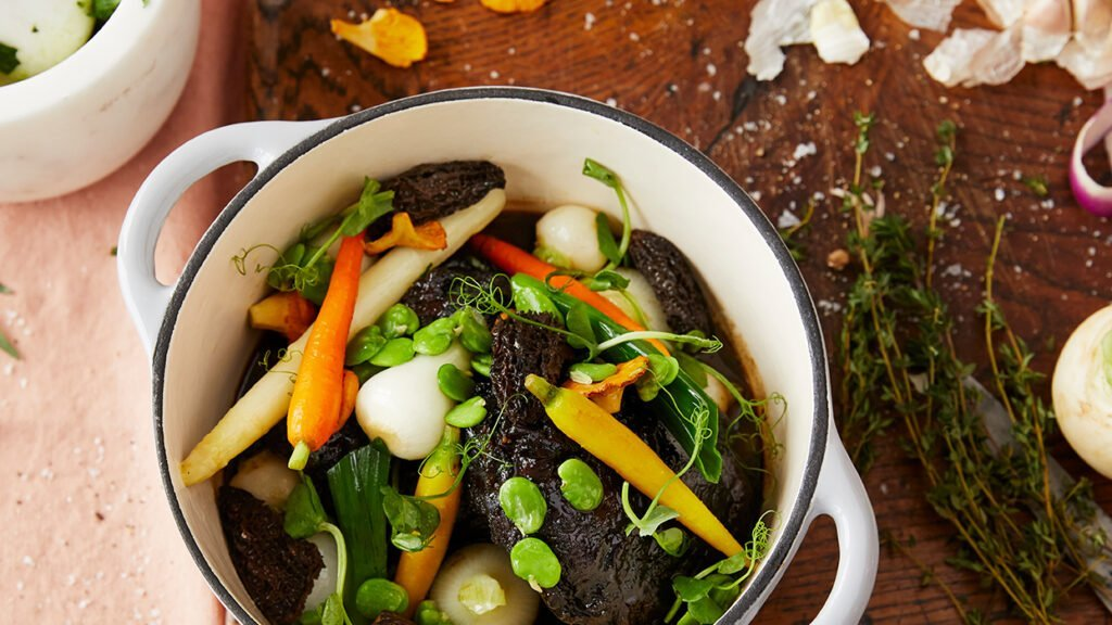 Slow cooked beef cheek with seasonal vegetables