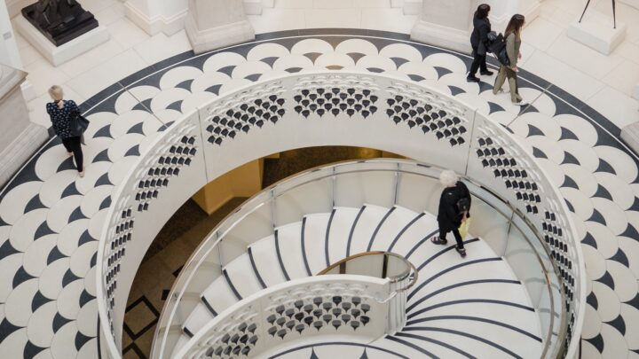 White spiral staircase at The Tate Britain in London