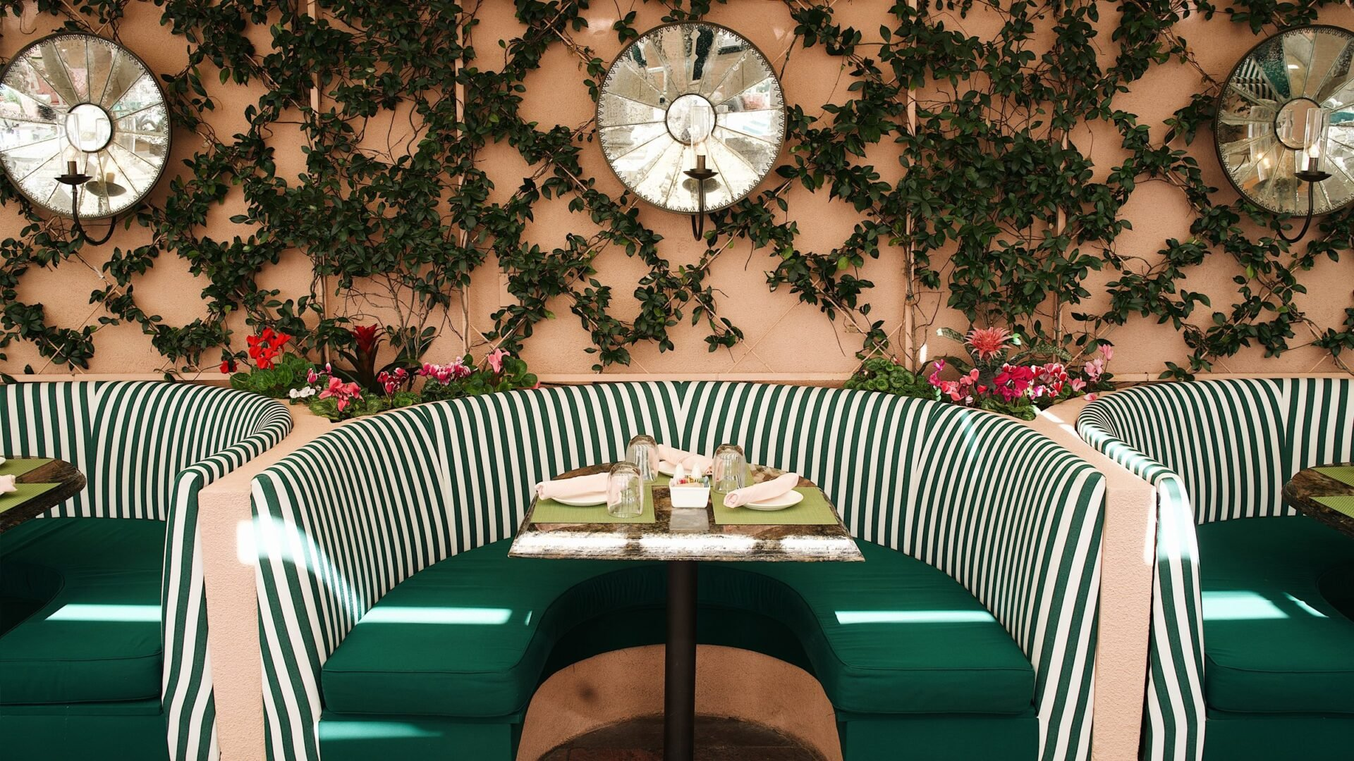 White and green table at Cabana Cafe