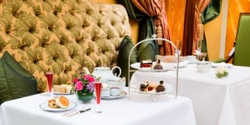 The Dorchester Sleeping Beauty Afternoon Tea Promenade set up with childrens sleeping potion
