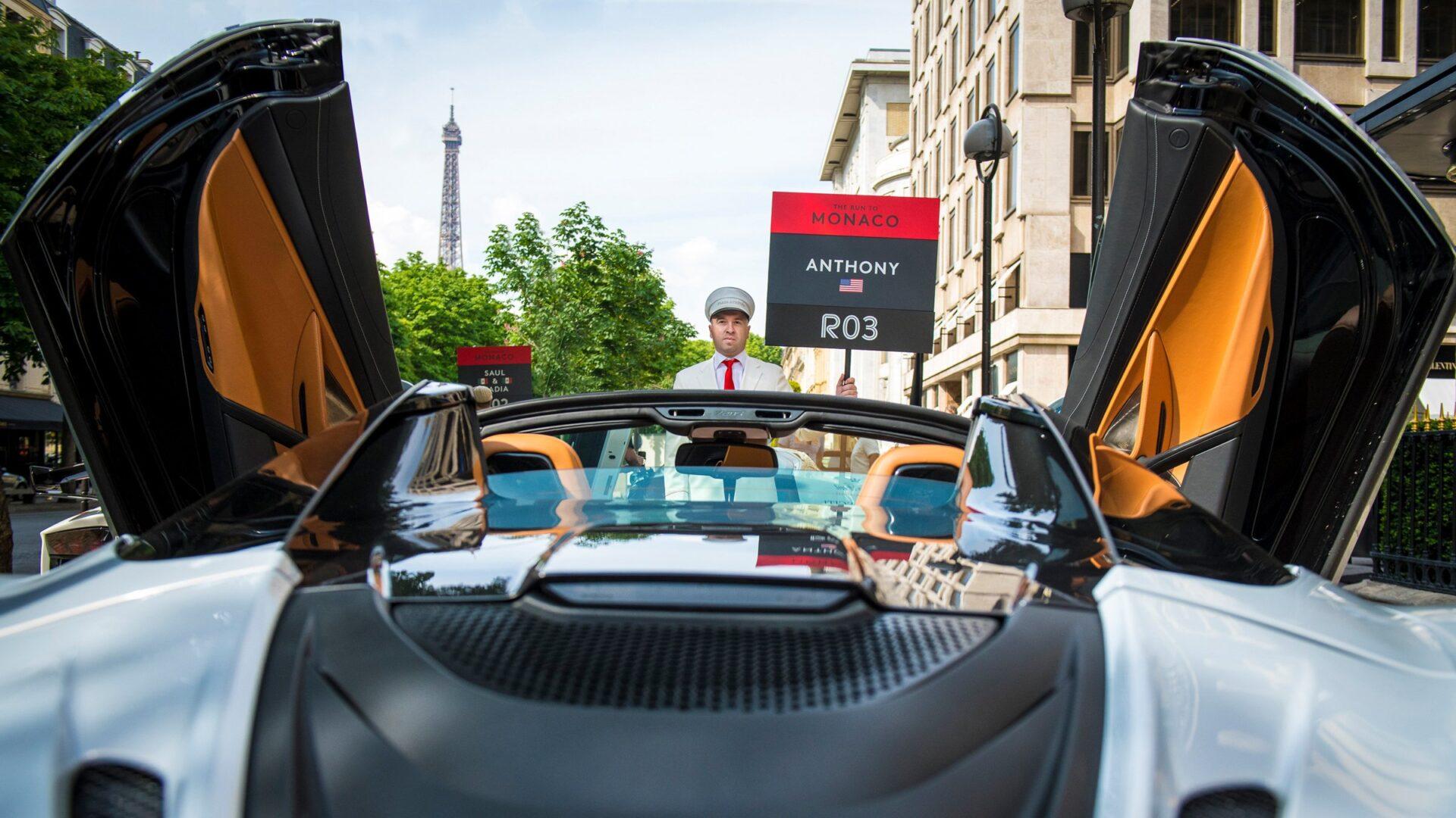 Christo Thompson with a supercar on The Run to Monaco