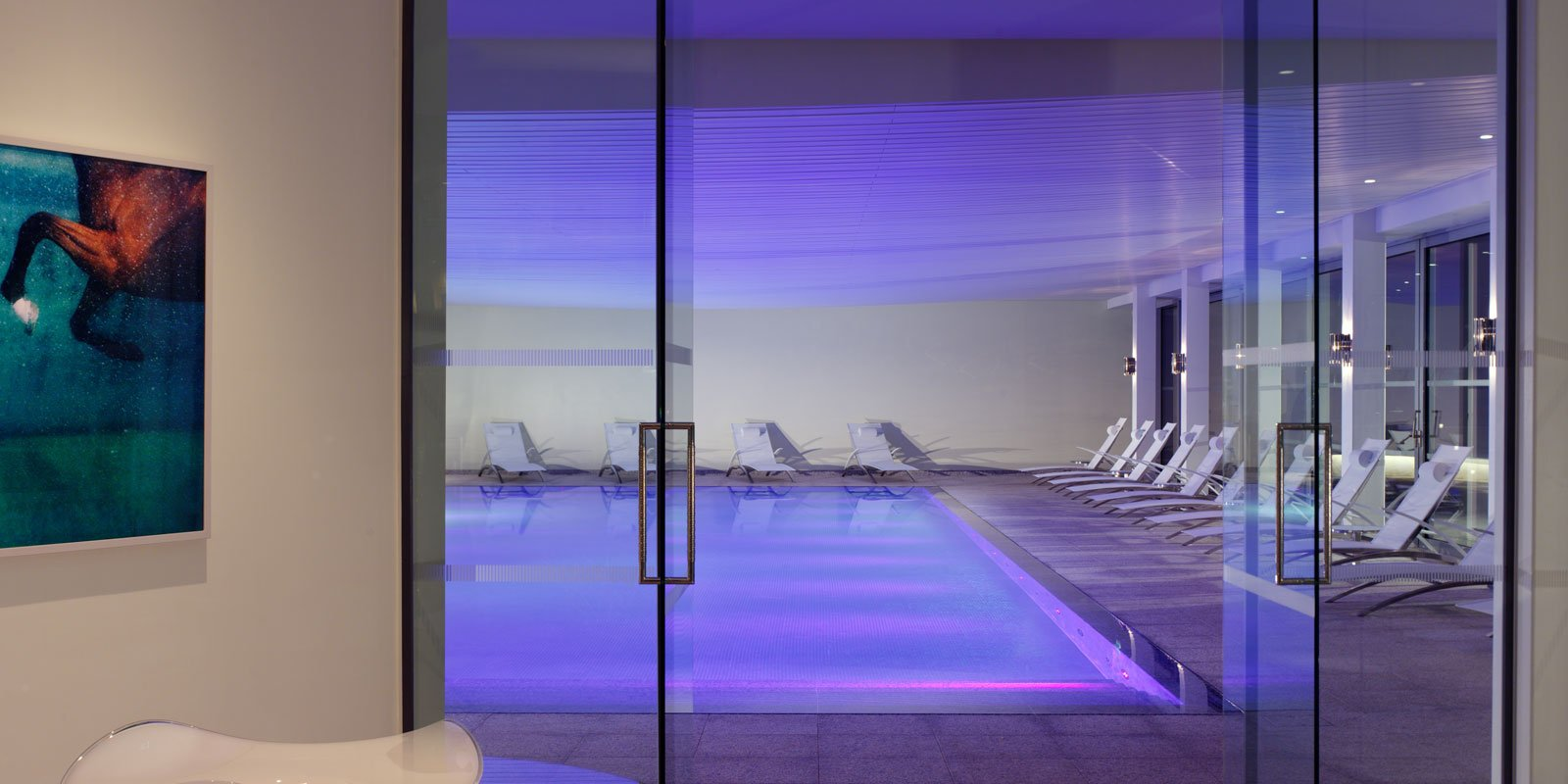 Enjoy our atmospheric heated pool with natural light, amethyst sculptures, underwater music and relaxation loungers.