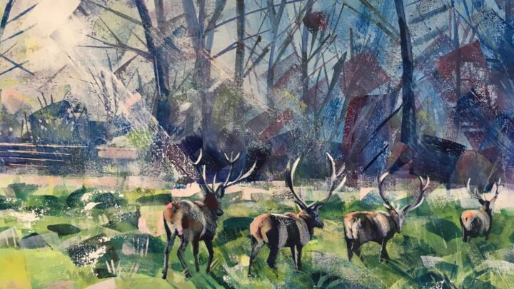 Painting of deers from the Windsor Art Fair.