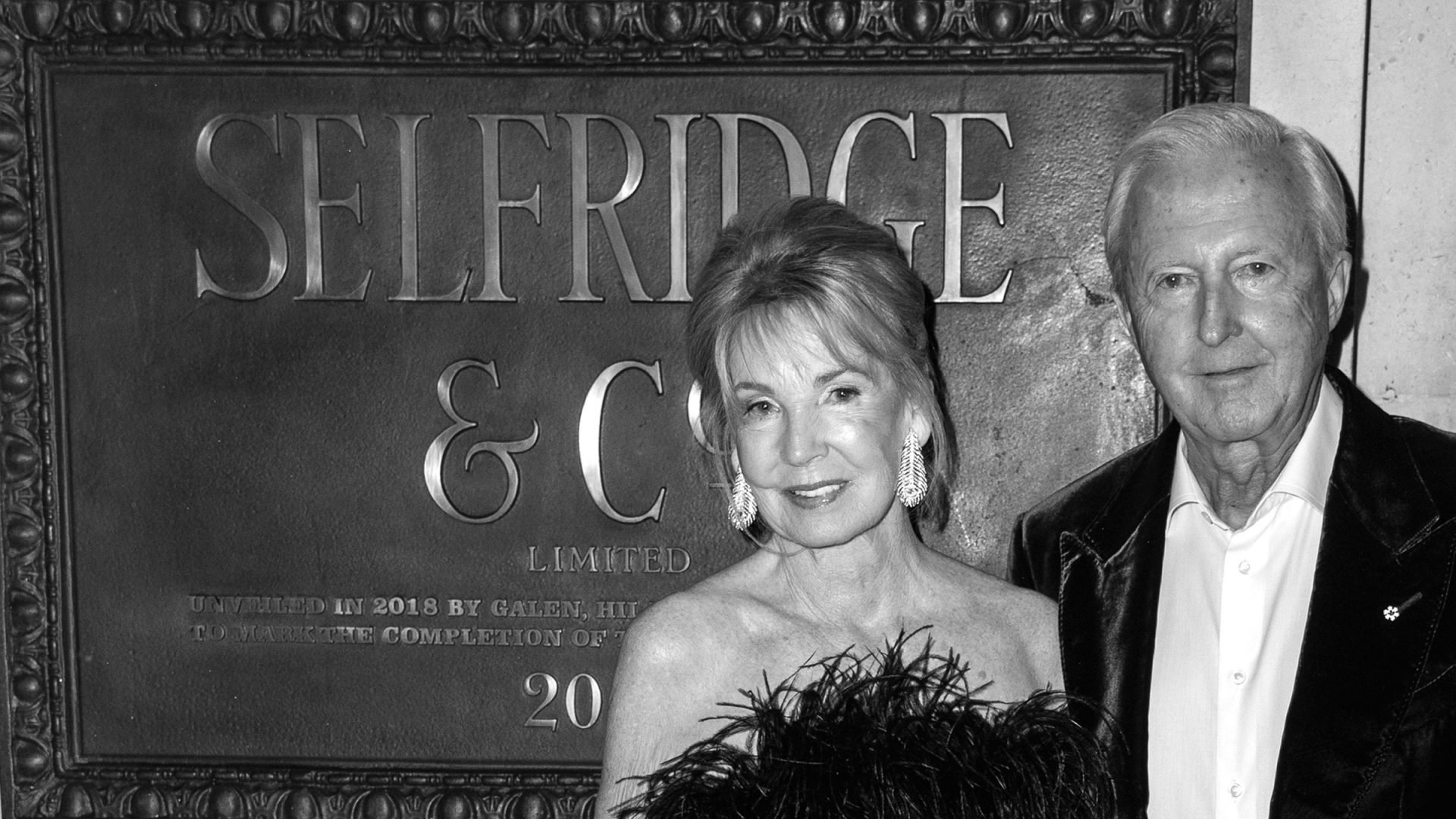 Hilary Weston and Galen Weston in front of Selfridges & Co.