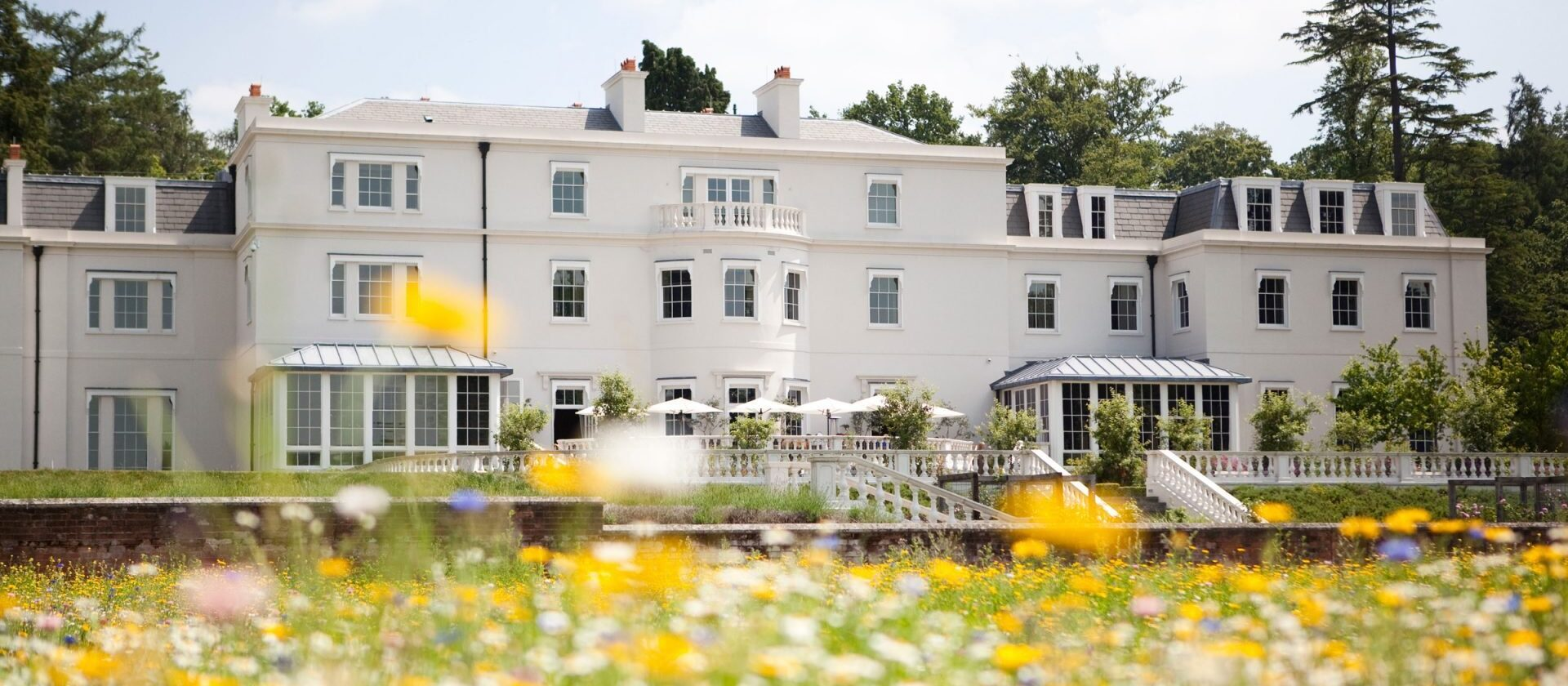 Exterior of Coworth Park hotel in London
