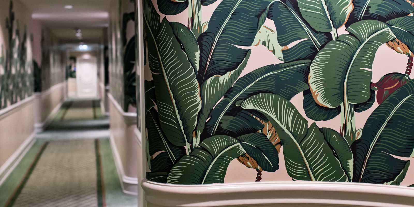 banana palm leaf prints Beverly Hills Hotel