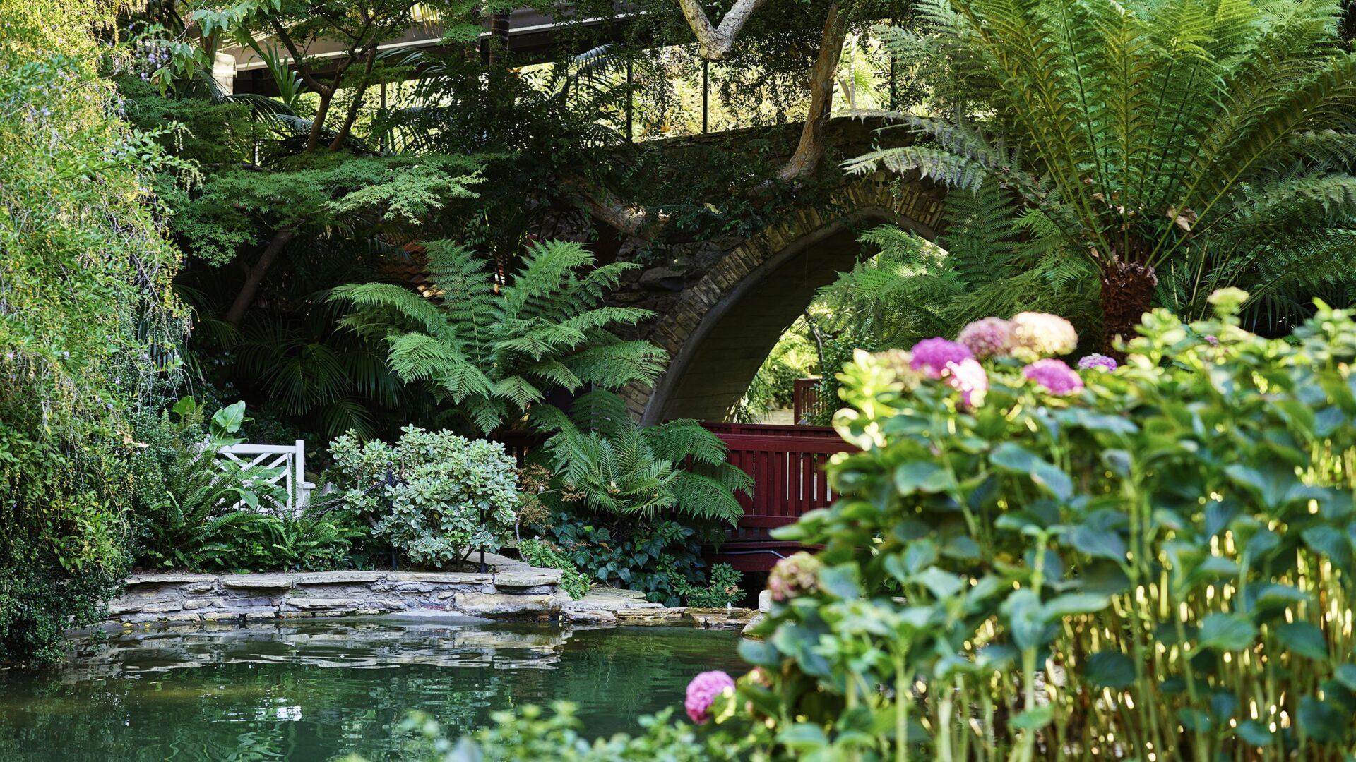 The Swan Lake Grotto Bridge at the Hotel Bel-Air