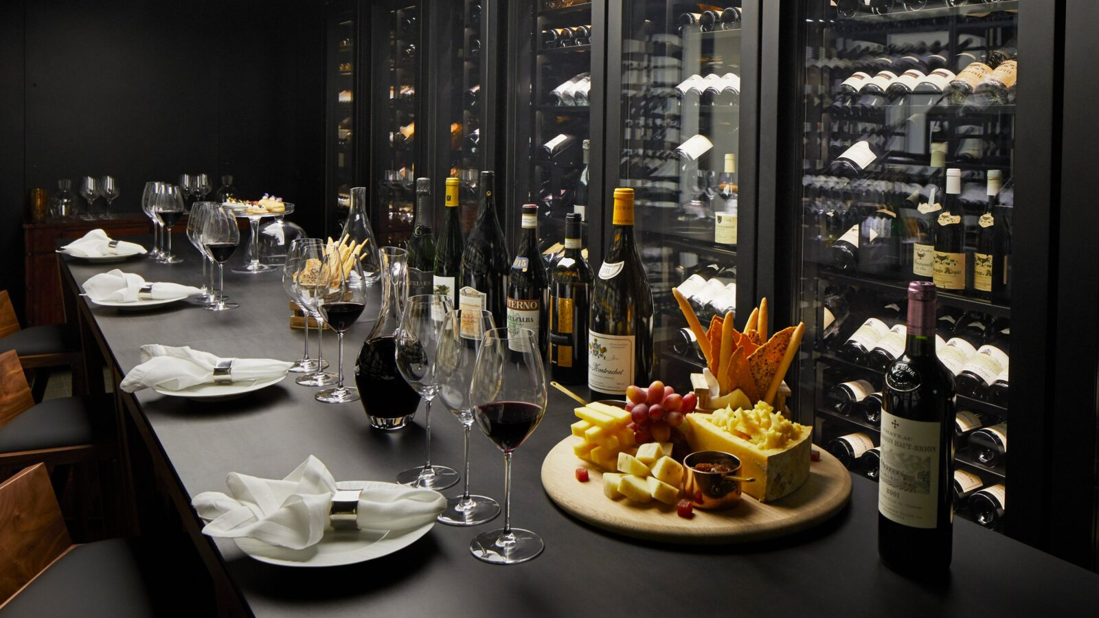 Wine and food on the bar at The Wine Vault at The Dorchester
