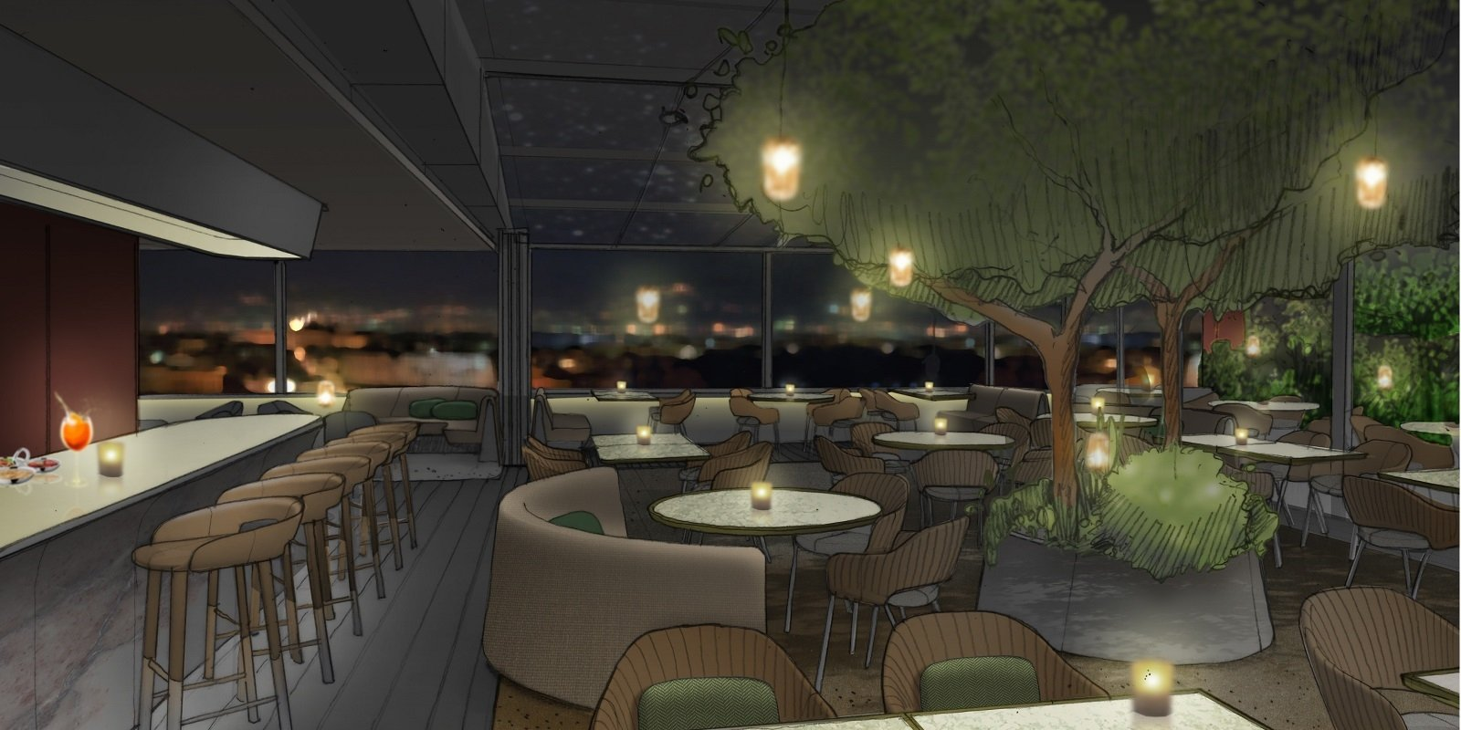 Designer sketch of the exterior of Il Giardino Restaurant bar at Hotel Eden