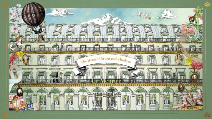 Drawing of the Le Meurice Hotel in Paris with flowers around the border
