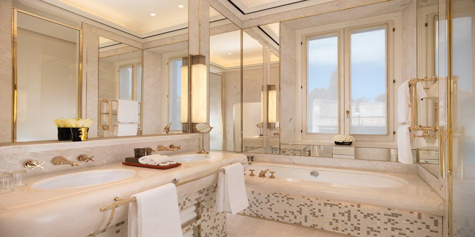 Sleek marble bathrooms