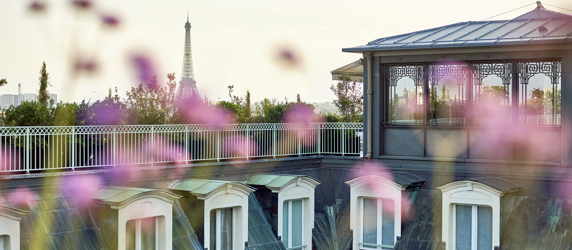 View of the Effiel tower from the Etoile Penthouse Suite at Le Meurice