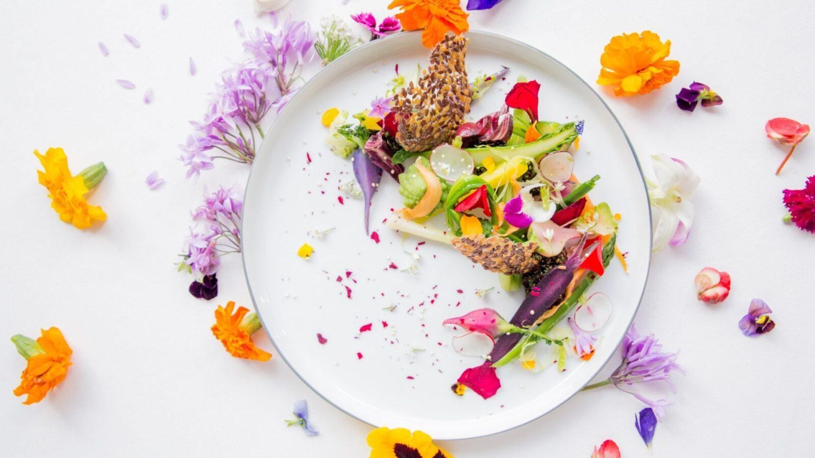 alain ducasse at the dorchester chelsea flower show vegetable garden dish