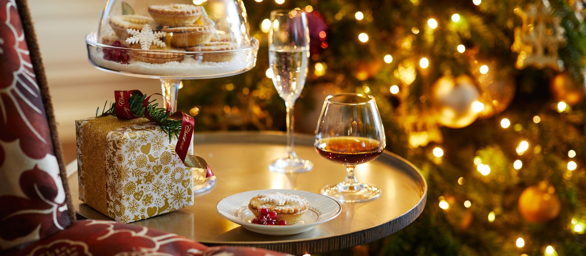 Mince pies and wine on a tray at The Dorchester Hotel