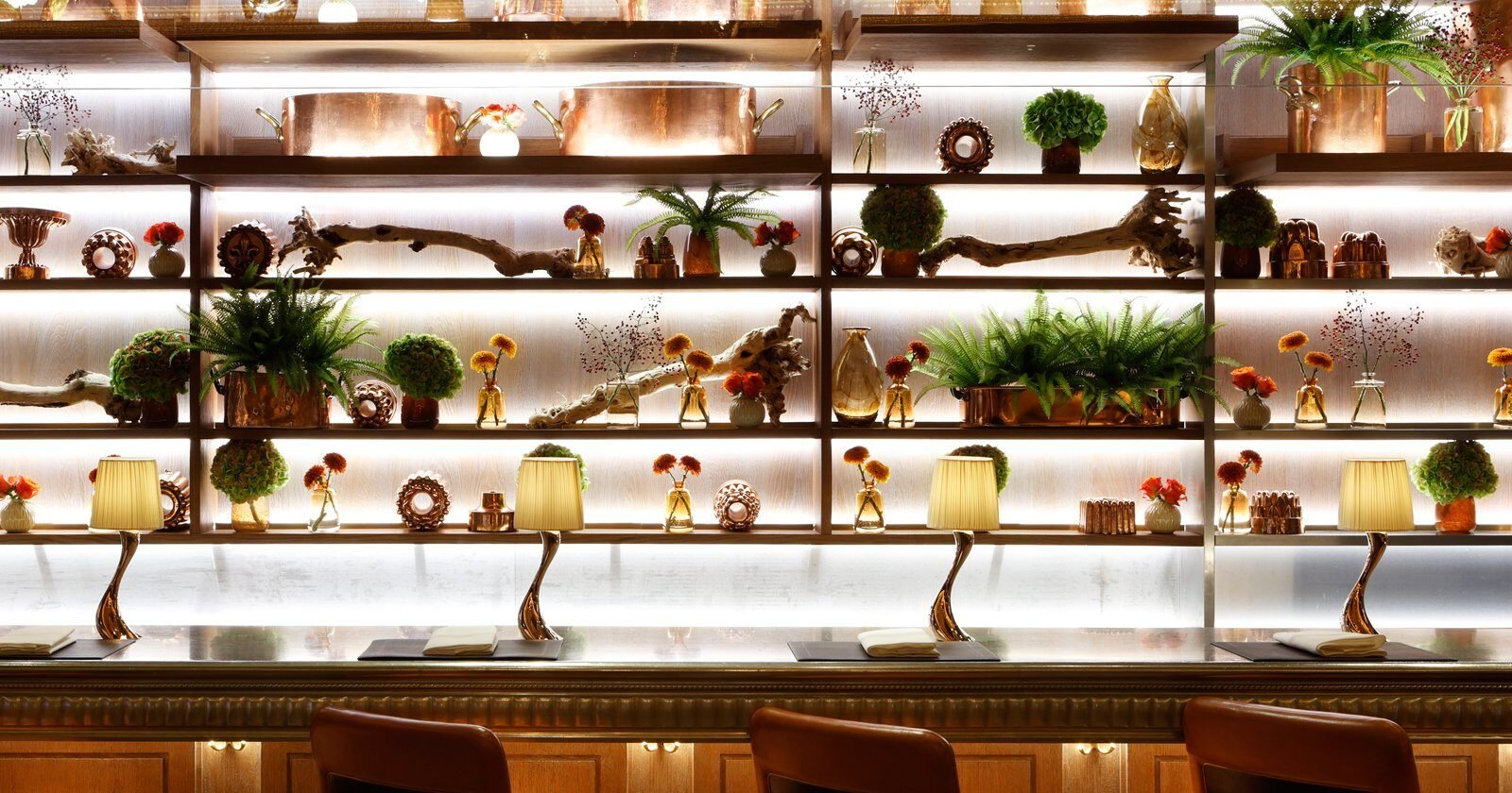 Behind the bar at The Grill restaurant at The Dorchester