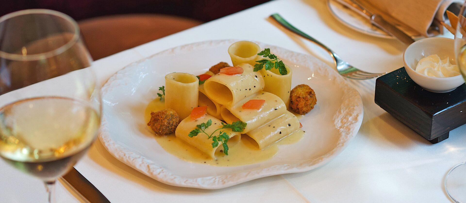 Pasta dish on a table at Hotel Principe di Savoia