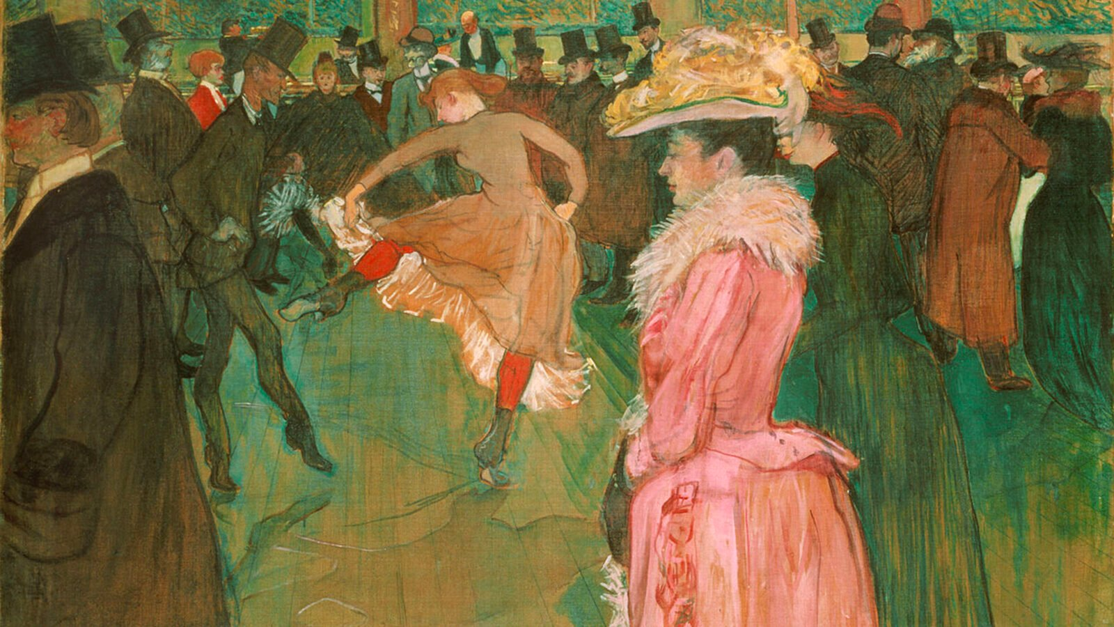 this is a painting from Toulouse Lautrec, it shows a woman dressed in pink and another one dancing