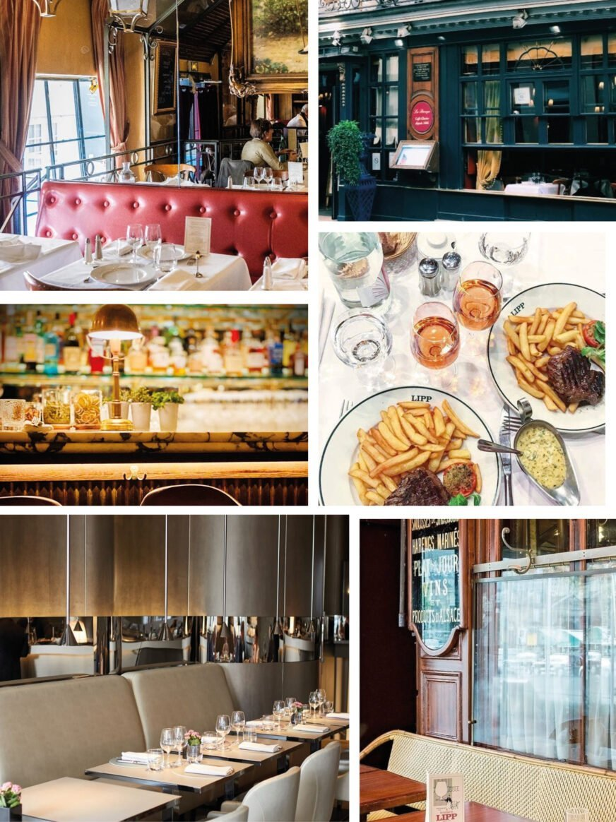 this is a collage of different images of restaurants in Paris