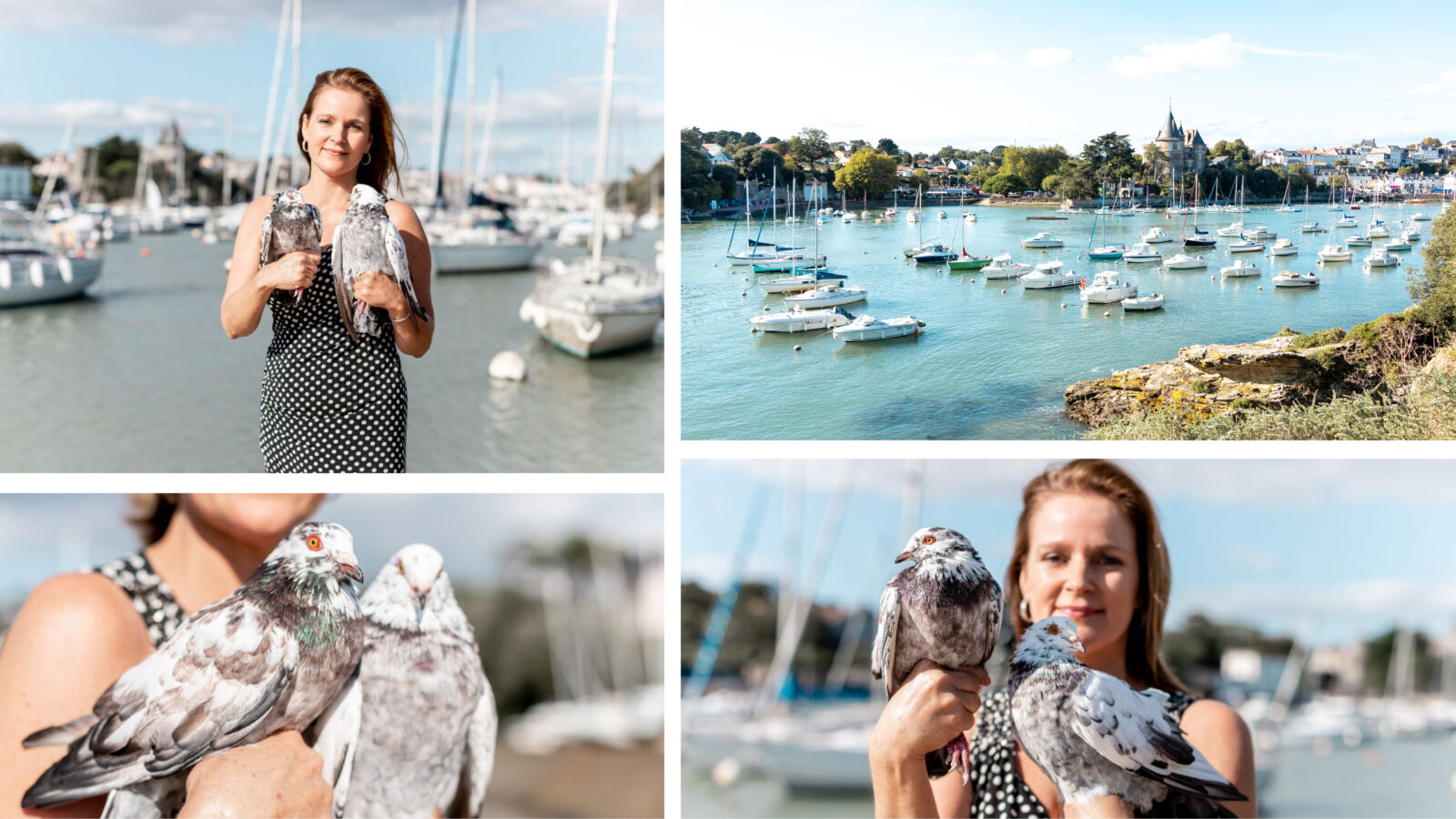 """This image shows 4 pictures of Marie Samuelle Cassard, the owner of """" Pigeons de Pornic"""". She is Le Meurice's producer of pigeon for our restaurants."""