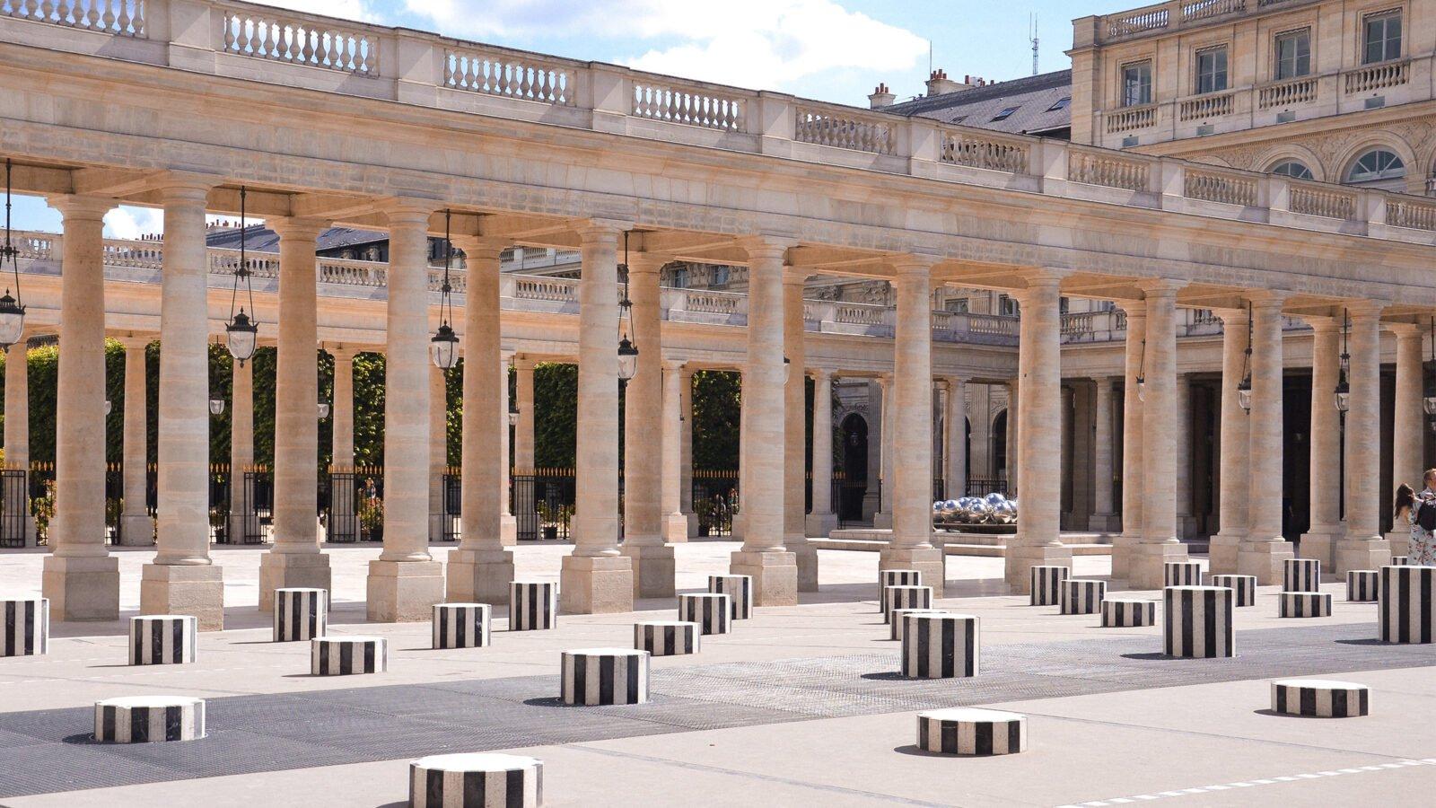This picture shows the Jardin du Palais Royal in Paris and the Colonnes Buren
