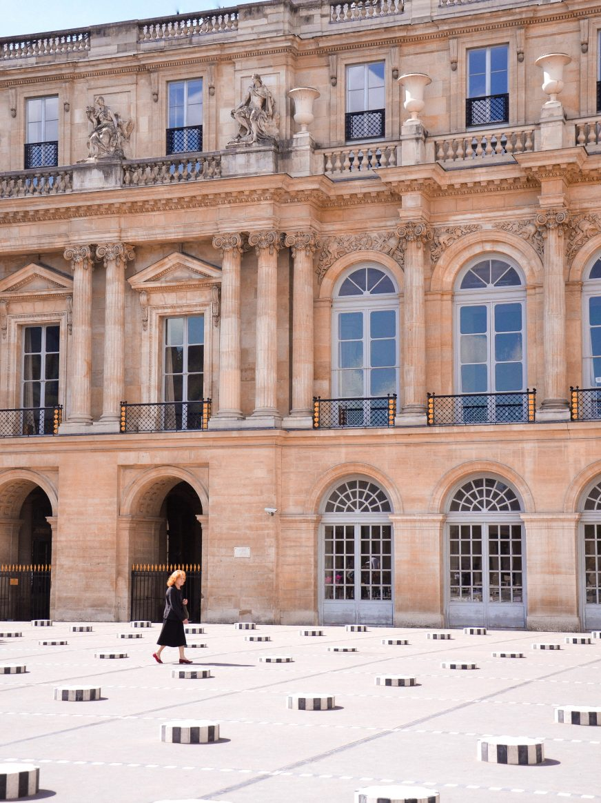 this is the Palais Royal Garden in Paris, we see the Buren columns