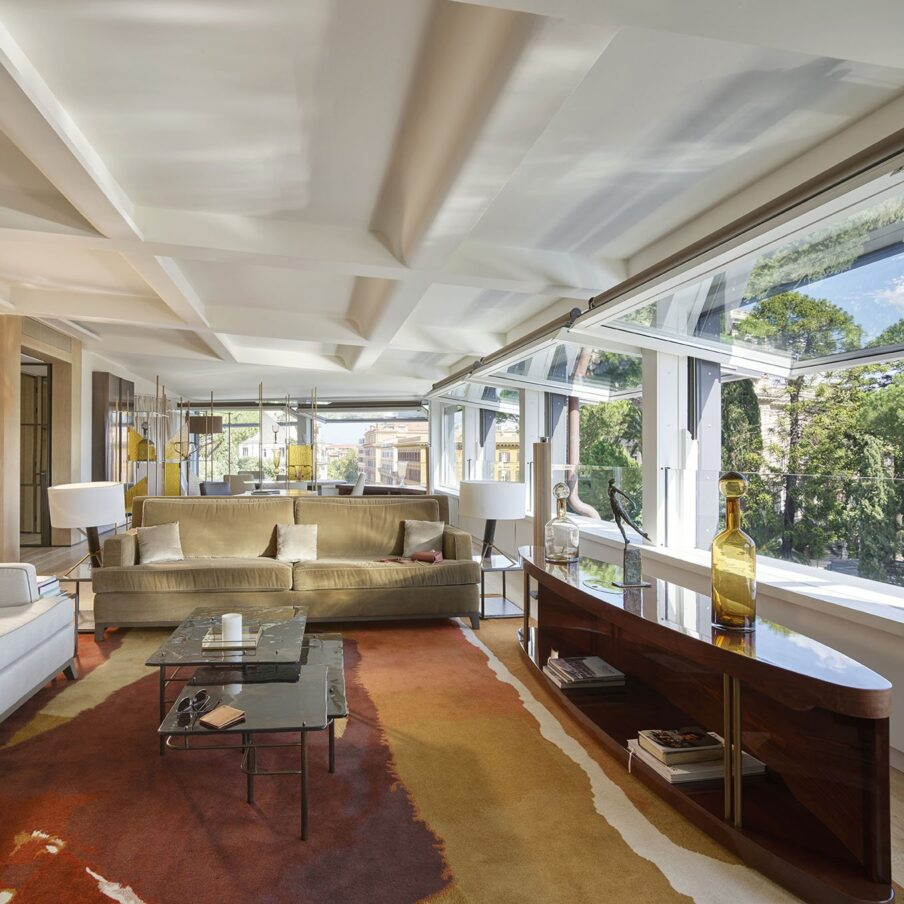 Living room in the Bellavista penthouse suite at Hotel Eden