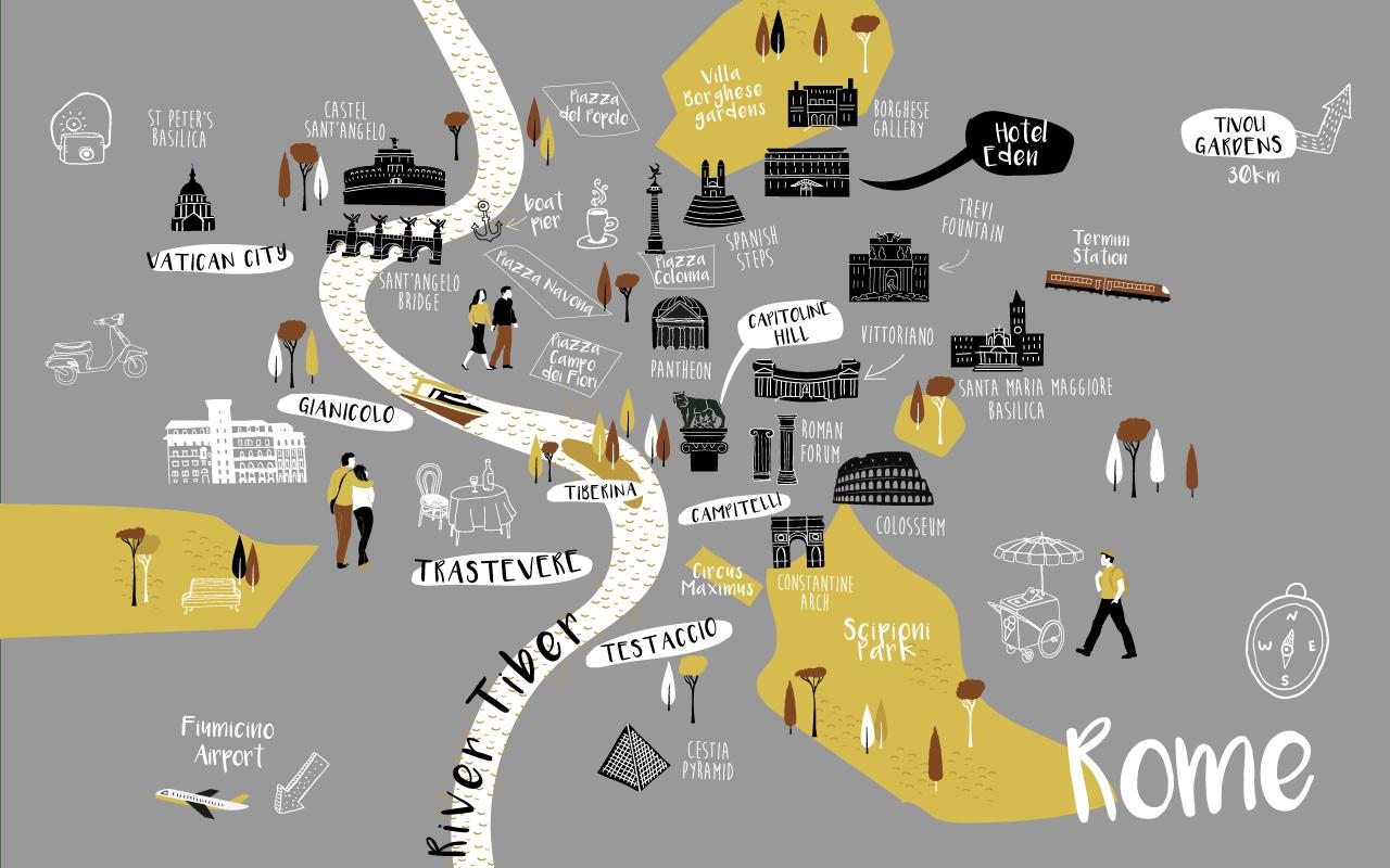 Map of landmarks in Rome