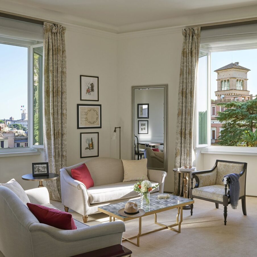 Living room in the Dolce Vita Suite at Hotel Eden