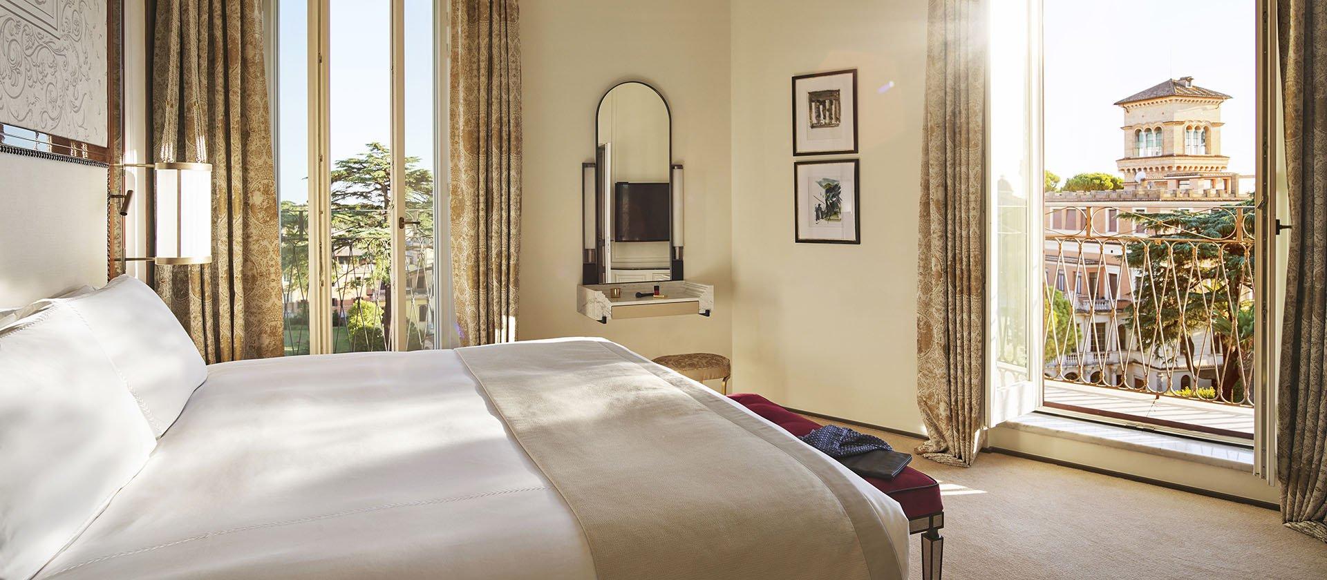 Bedroom inside the VIlla Medici Presidential Suite at Hotel Eden